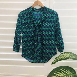 Cynthia Rowley Silk Owl Print Tie-Neck Blouse